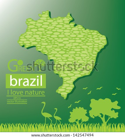 Brazil map. Save world. Green concept vector illustration. - stock vector