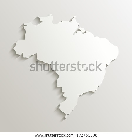 Brazil map silhouette with shadow effect. EPS10 vector with transparency organized in layers for easy editing. - stock vector