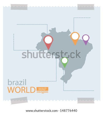 Brazil. Map vector Illustration. - stock vector