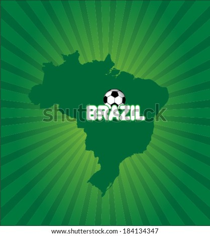 Brazil map with soccer ball vector artwork