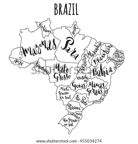Brazil Map States Vector Illustration Hand Stock Vector - Brazil states map