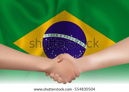 Brazil national flag Handshake background