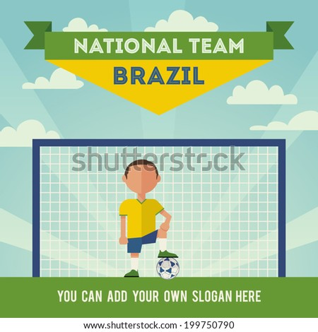 Brazil national football team player. Flat design - stock vector
