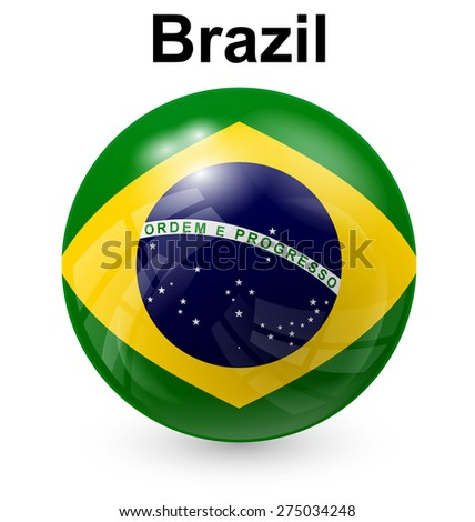 brazil official flag, button ball