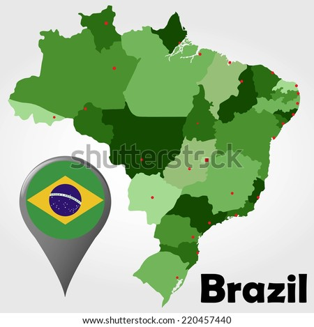Brazil political map with green shades and map pointer. - stock vector