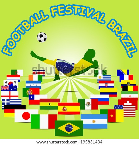 Brazil poster of participants, vector - stock vector