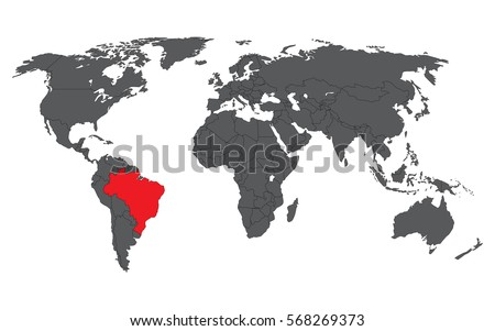 Brazil red on gray world map stock vector 568269373 shutterstock brazil red on gray world map vector gumiabroncs Image collections