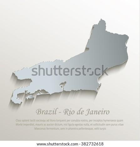 Brazil Rio de Janeiro map white blue card paper 3D vector - stock vector