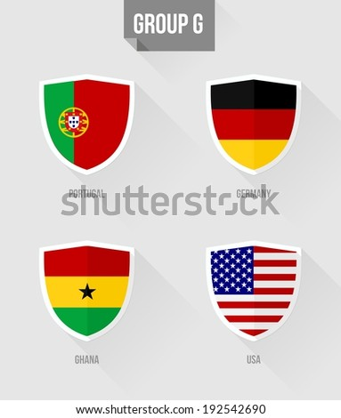 Brazil Soccer Championship 2014. Flat icons for Group G nation flags in shield sign: Portugal, Germany, Ghana, USA. EPS10 vector with transparency organized in layers for easy editing.