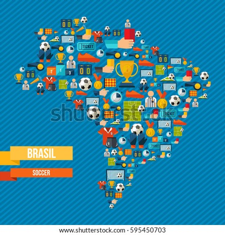 Brazil soccer culture icons country map stock vector royalty free brazil soccer culture icons in country map includes sport elements for football game ball gumiabroncs Images