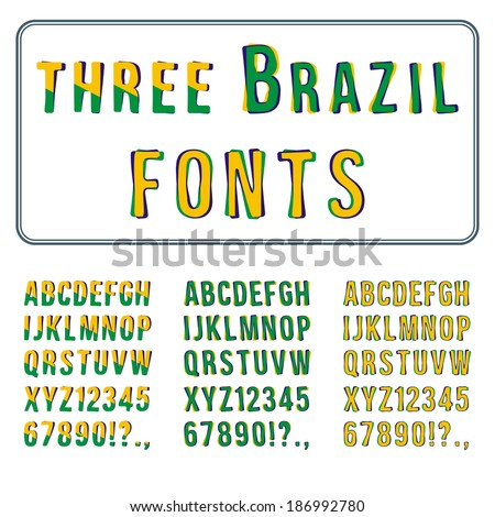 Brazil Style Font Set. Hand Drawn Alphabet with Digits. Vector - stock vector