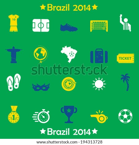 Brazil symbols icons and football icons - stock vector