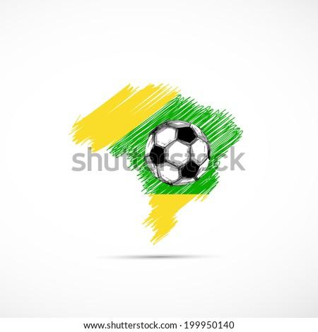 Brazil vector illustration map with soccer ball  easy all editable - stock vector