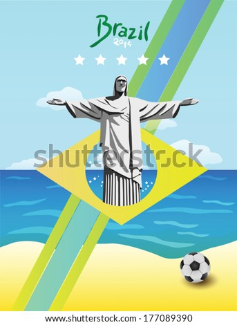 Brazil vector with ball and christ the redeemer statue - stock vector