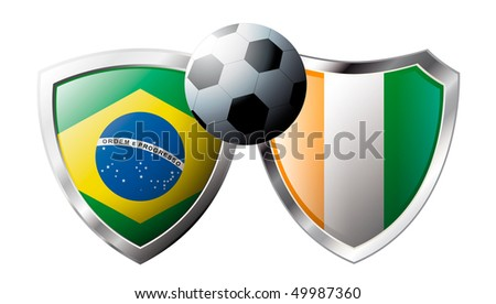 Brazil versus Cote d I voire abstract vector illustration isolated on white background.  Shiny football shield of flag Brazil versus Cote d I voire - stock vector