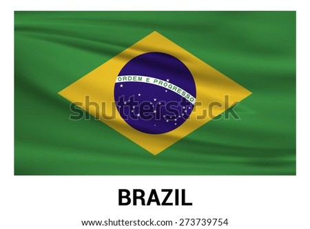 Brazil Waving flag isolated vector in official colors and Proportion Correctly. waving wind Flag realistic fabric effect. country's name label in bottom - stock vector