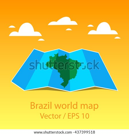 Brazil world map, folded paper maps. Vector illustration. - stock vector