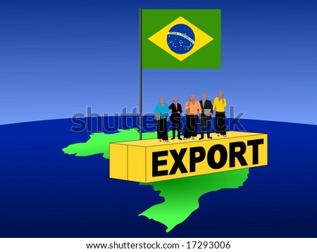 Brazilian business team on export container with flag illustration