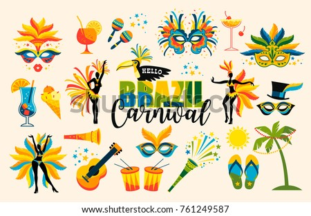 Brazilian Carnival. Big set of vector iconc. Design elements.