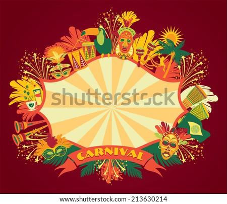 Brazilian Carnival. Vector colorful background.Frame for design. - stock vector