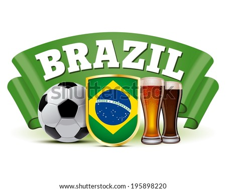 brazilian flag on a shield between soccer ball and beer glasses in front of green ribbon - stock vector