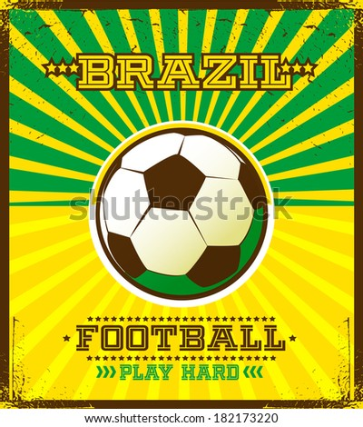 Brazilian football poster. - stock vector