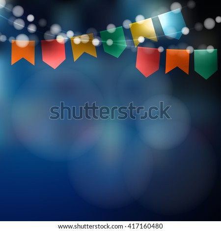 Brazilian june party. Festa junina. String of lights, party flags. Summer birthday party decoration. Festive night. Blurred background. Holiday stock vector illustration.