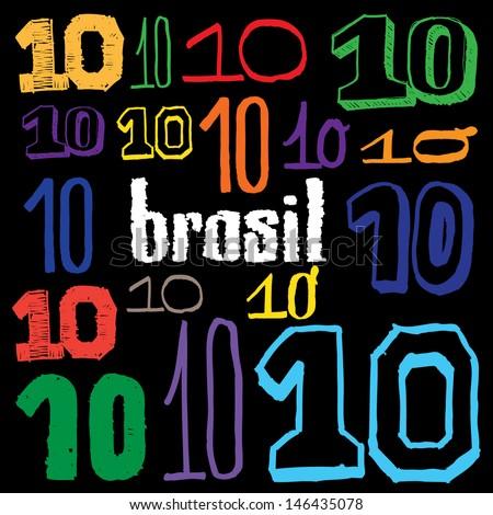 Brazilian Number Ten - handmade - stock vector