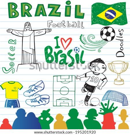 Brazilian soccer, set of sketches. - stock vector