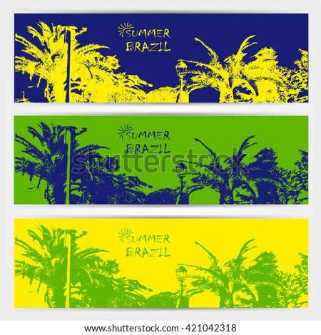 Brazilian summer games posters in colors of the Brazilian flag. Invitation on summer party and olympic games. - stock vector
