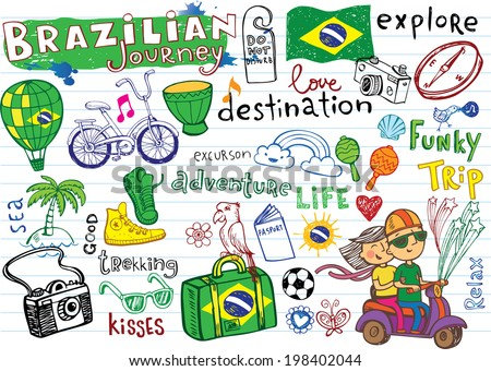 Brazilian travel, doodles - football, Brazilian accessories, clothes, trees, musical instruments, animals. For banners, sport backgrounds, presentations - stock vector