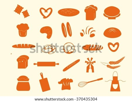 Bread and bakery flat icons. Bread vector set. Different bread isolated. Clip art bread. Set of design elements for bakery logo, for bake house. Bread icons set. - stock vector