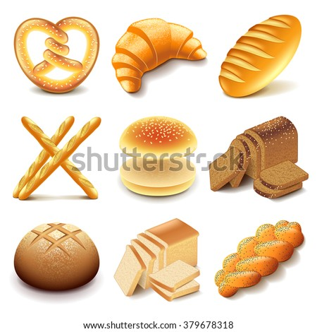 Bread and bakery icons detailed photo realistic vector set - stock vector