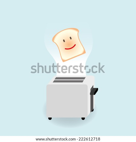 Bread and toaster isolated background vector illustration - stock vector
