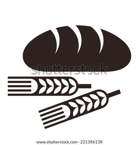 Bread and wheat ears isolated on white background  - stock vector