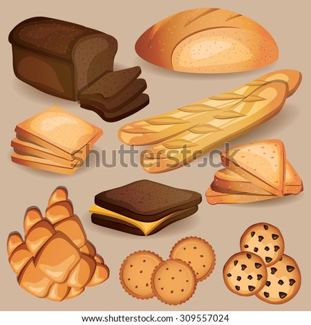 Bread, bakery, pastry sweets set. Vector illustration