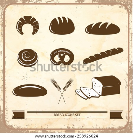 Bread icon set on a vintage background