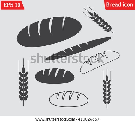 Bread icons set.Vector illustration