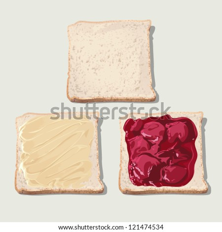 Bread jam and butter - stock vector