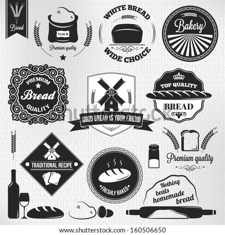 bread set bakery vintage labels - stock vector