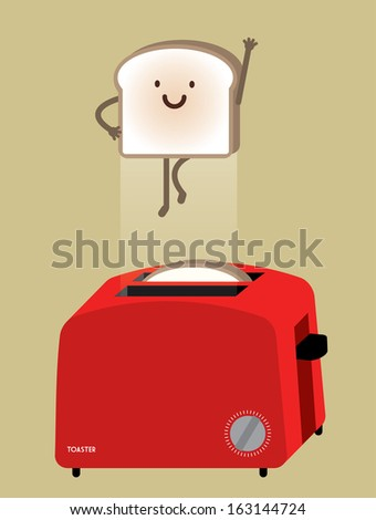 bread toaster with flying bread vector/illustration - stock vector