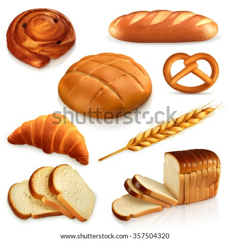 Bread, vector icons set - stock vector