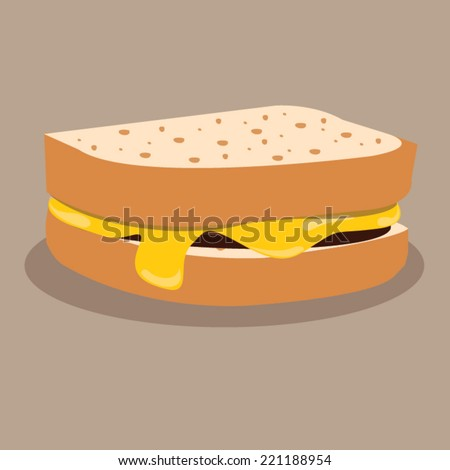 bread with melted cheese. vector illustration - stock vector