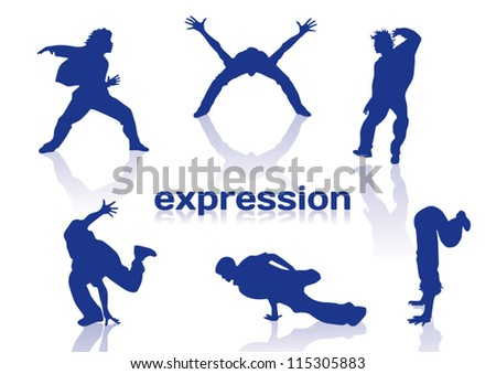 Break dance silhouettes on white background