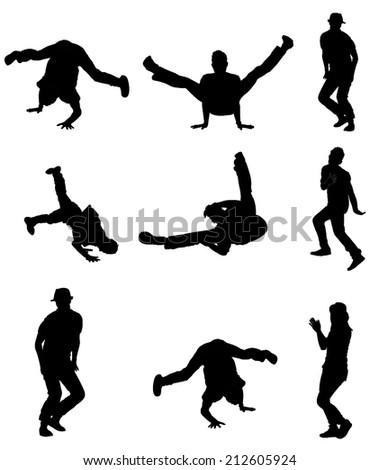 Break dance vector silhouette, break dance group isolated on white background.  - stock vector