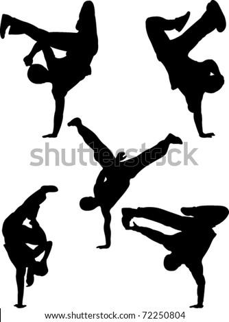 break dancers  collection vector - stock vector