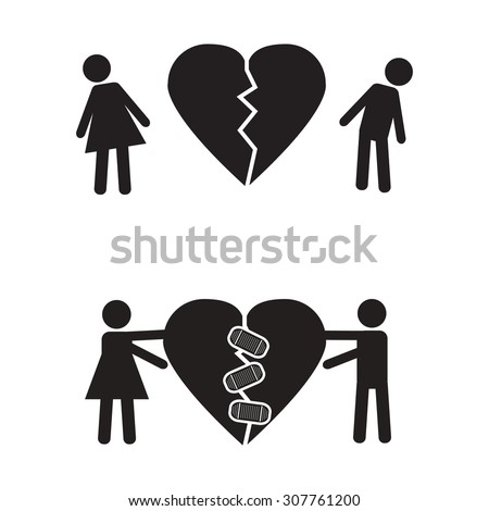 Break up and get back together icon - stock vector