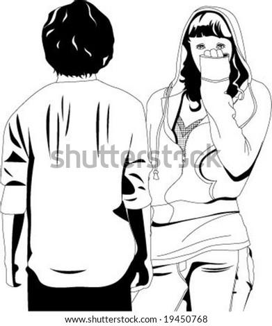 Break up, boy and girl - stock vector