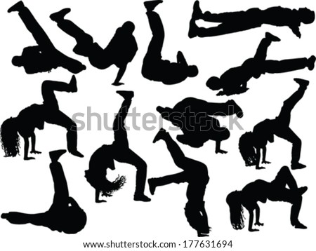 breakdance collection - vector - stock vector