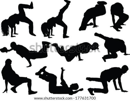 breakdance collection - vector - stock vector